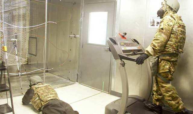 researchers testing equipment