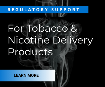 Image with Text: Smoke background with Regulatory Support for Regulatory Support for Tobacco & Nicotine Delivery Products
