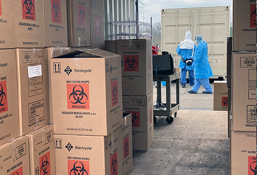 Shipments of Personal Protective Equipment (PPE) ready for decontamination and sterilization at Battelle CCDS Critical Care Decontamination System™.