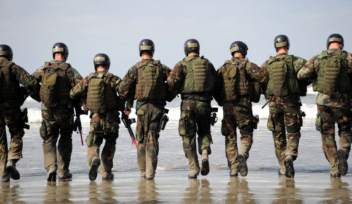 Photo of American Army Soldiers with Arms Locked Together