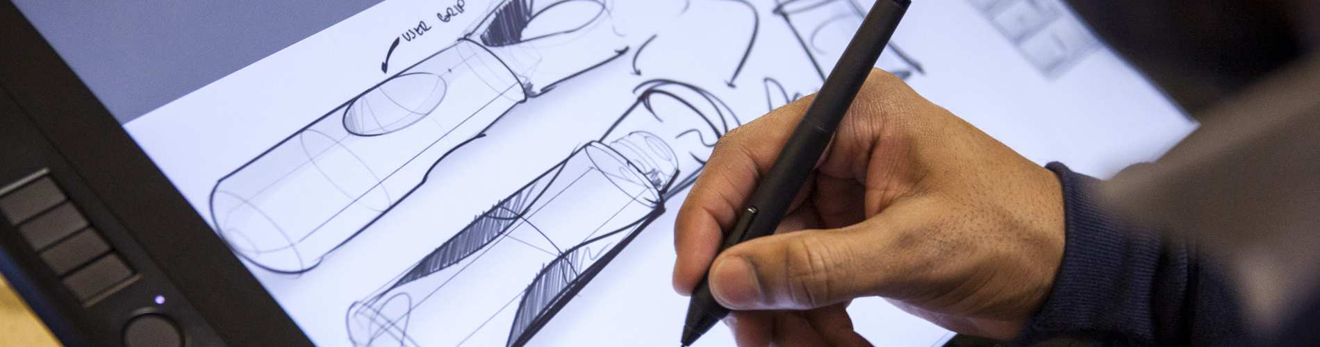 Hand drawing medical devices on interactive touch screen digital display.