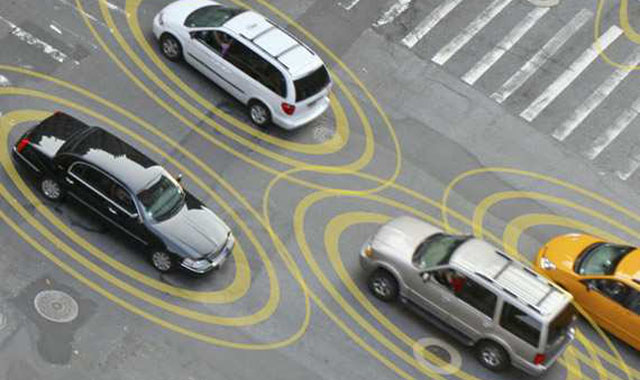 graphic representative of connected vehicles on a city street