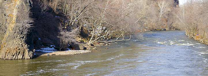 LOwer Passaic River on a sunny day.