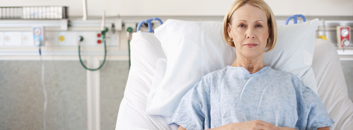 woman laying in a hospital bed