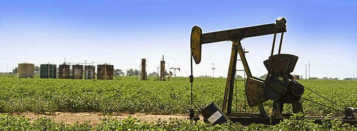 Oil pump in middle of field