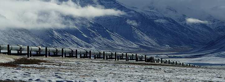 Pipeline going through mountain range
