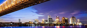 New Orleans skyline and bridge